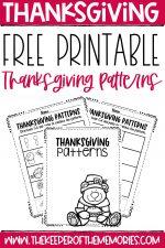 Free Printable Patterns Preschool Thanksgiving Worksheets