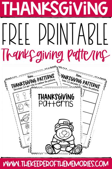 collage of Thanksgiving Patterns Worksheets with text: Free Printable Thanksgiving Patterns
