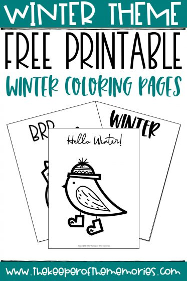collage of winter coloring pages with text: Winter Theme Free Printable Winter Coloring Pages