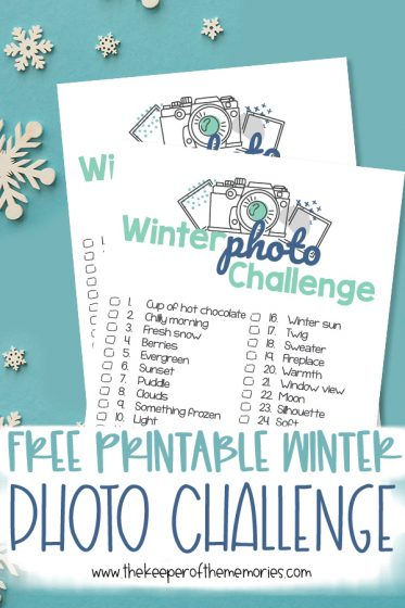 collage of winter scrapbooking ideas with text: Free Printable Winter Photo Challenge