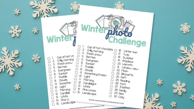 collage of Free Printable Winter Scrapbooking Ideas