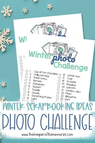 collage of winter scrapbooking ideas with text: Winter Scrapbooking Ideas Photo Challenge