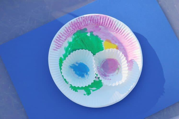 paper plate lotus flower process art