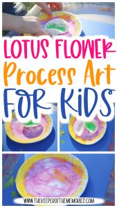 collage of rainforest process art images with text: Lotus Flower Process Art for Kids