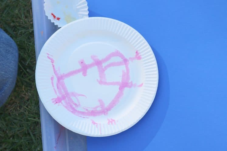 child's painted paper plate
