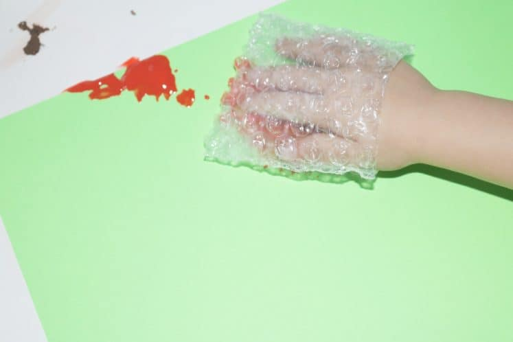 texture painting with bubble wrap on cardstock