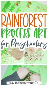 collage of rainforest process art with text: Rainforest Process Art for Preschoolers
