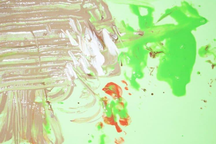 paint swirled on cardstock to make snakeskin process art