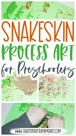 collage of rainforest process art with text: Snakeskin Process Art for Preschoolers