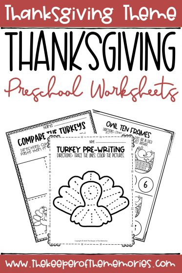 collage of Thanksgiving Worksheets with text: Thanksgiving Theme Thanksgiving Preschool Worksheets