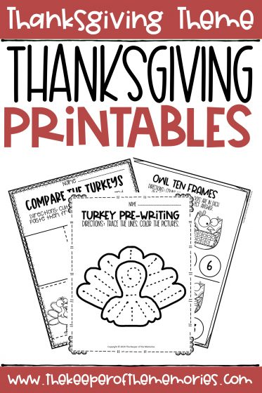 collage of Thanksgiving Worksheets with text: Thanksgiving Theme Thanksgiving Printables