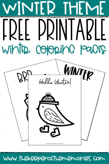 collage of winter coloring pages with text: Winter Theme Free Printable Winter Coloring