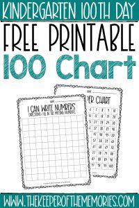 kindergarten 100 chart worksheets with text: Kindegarten100th Day Free Printable 100 Chart