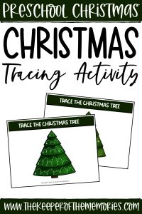 collage of Christmas Tracing activity cards with text: Preschool Christmas Christmas Tracing Activity