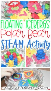 collage of iceberg polar bear activity with text: Floating Icebergs STEAM for Kids