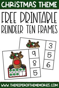 reindeer ten frame clip cards with text: Christmas Theme Free Printable Reindeer Ten Frames