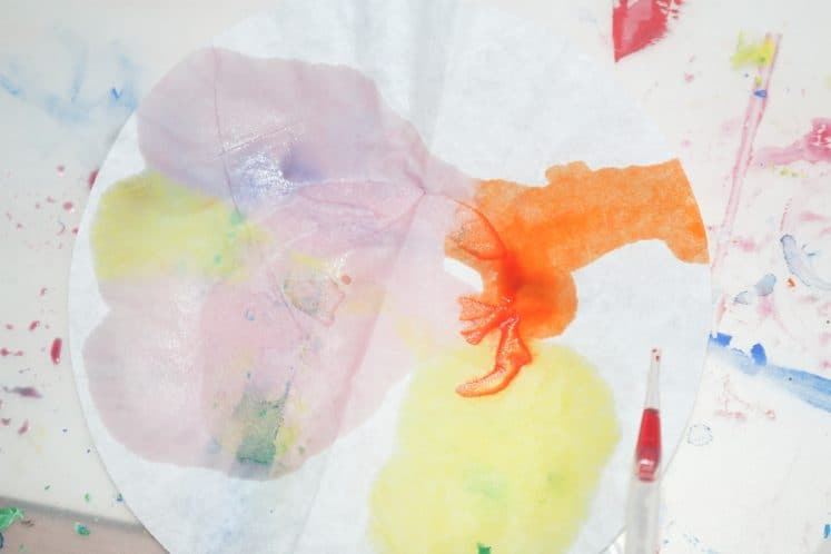 watercolor paint on coffee filter