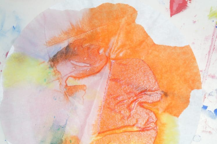 liquid watercolor on coffee filter