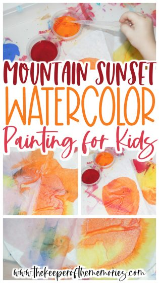 collage of mountain sunset process art images with text: Mountain Sunset Watercolor Painting for Kids