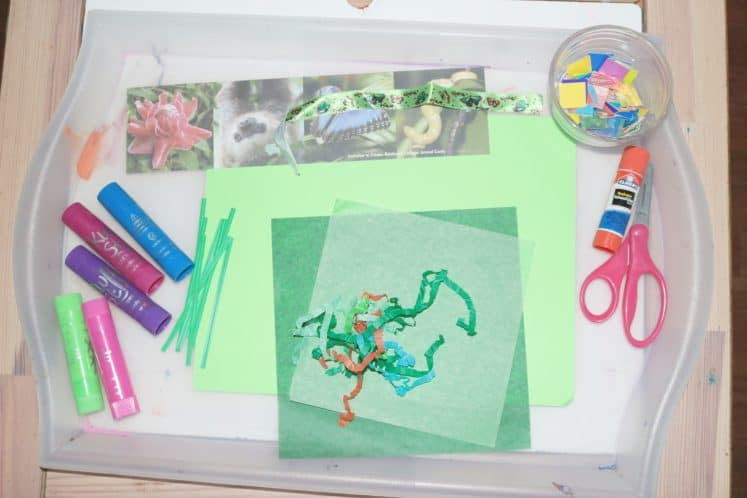 collage supplies on plastic tray
