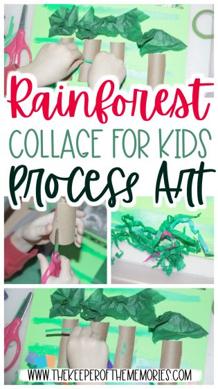 collage of rainforest process art images with text: Rainforest Collage for Kids Process Art