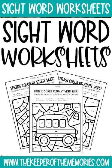 collage of sight word worksheets with text: Sight Word Worksheets