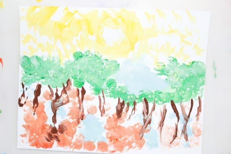 adult's tree painting process art
