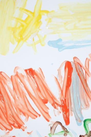 child's tree painting process art painting