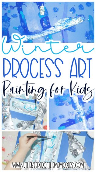 collage of icicle painting for kids images with text: Icicle Process Art Painting for Kids