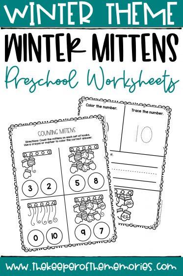 Mittens Printable Winter Preschool Worksheets with text: Winter Theme Winter Mittens Preschool Worksheets