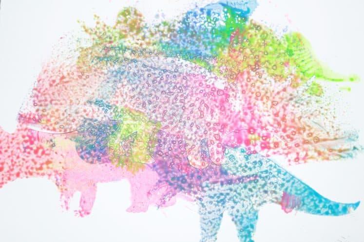 preschooler's dinosaur sponge painting