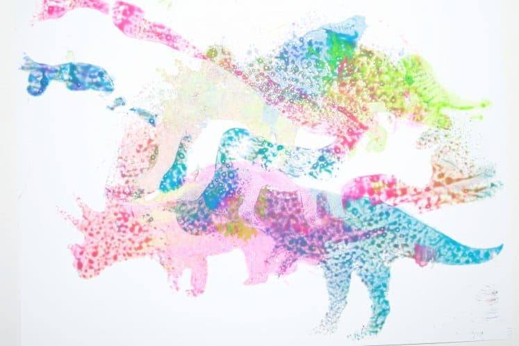 preschooler's dinosaur process art