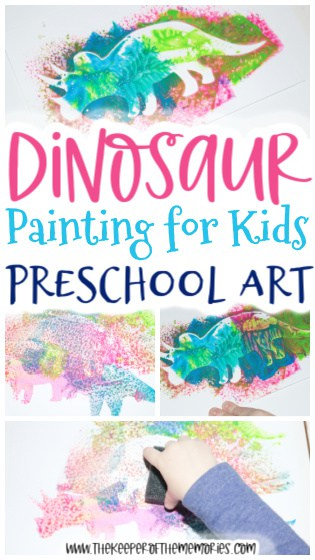 Dinosaur Painting for Kids images with text: Dinosaur Painting for Kids Preschool Art