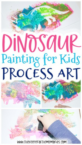 Dinosaur Painting for Kids images with text: Dinosaur Painting for Kids Process Art