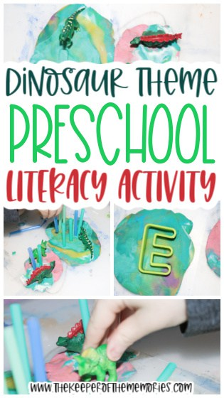 collage of dinosaur sensory tray images with text: Dinosaur Theme Preschool Literacy Activity