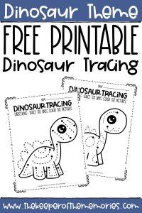 Dinosaur pre-writing worksheets with text: Dinosaur Theme Free Printable Dinosaur Tracing
