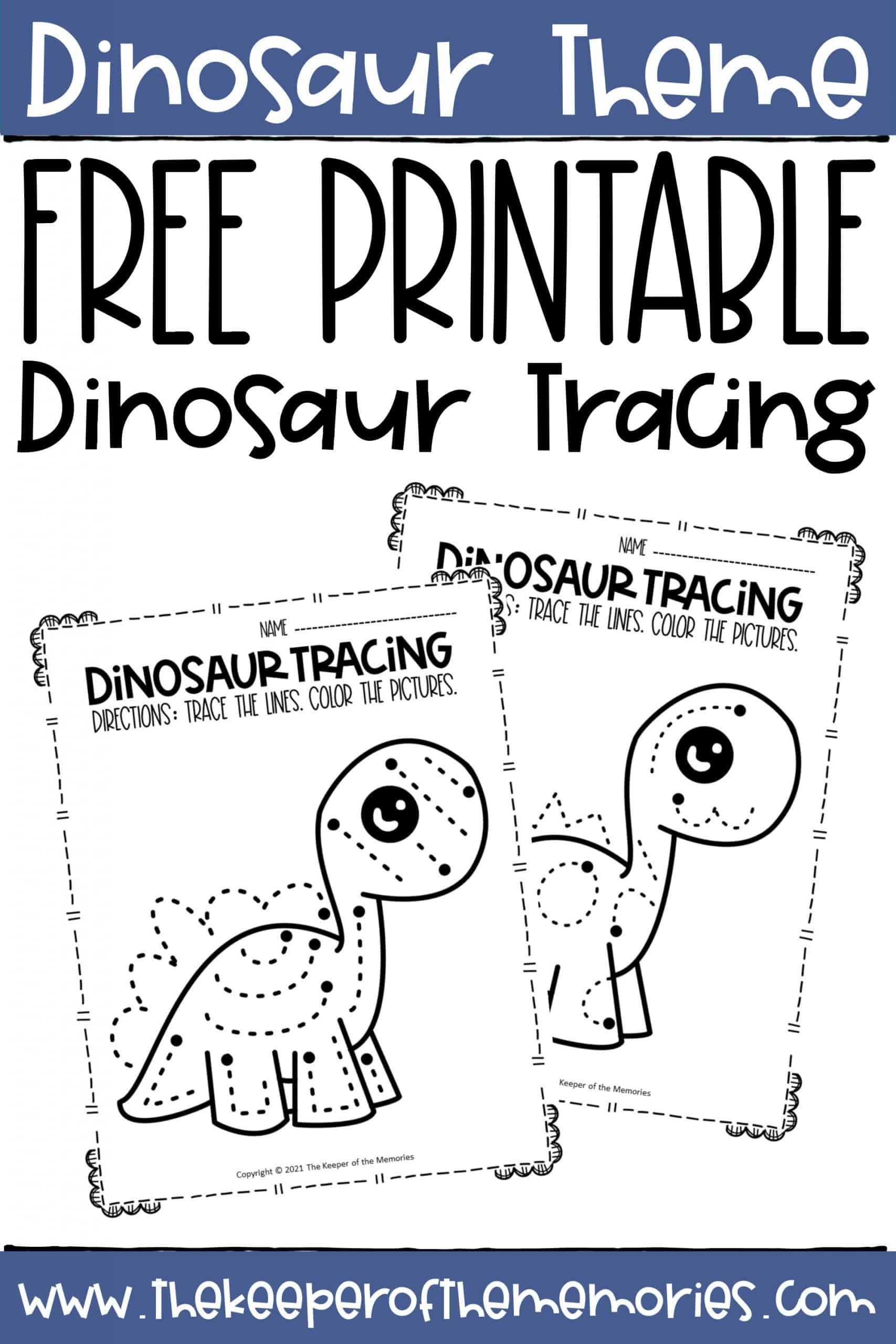 Free Printable Dinosaur Tracing Preschool Worksheets