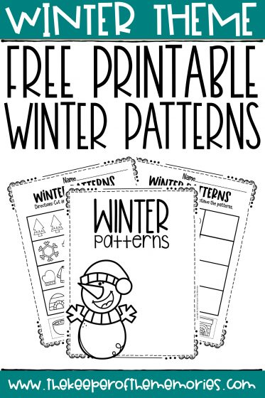 Free Printable Patterns Winter Preschool Worksheets with text: Winter Theme Free Printable Winter Patterns