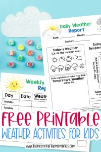 collage of weather report printables with text: Free Printable Weather Activities for Kids
