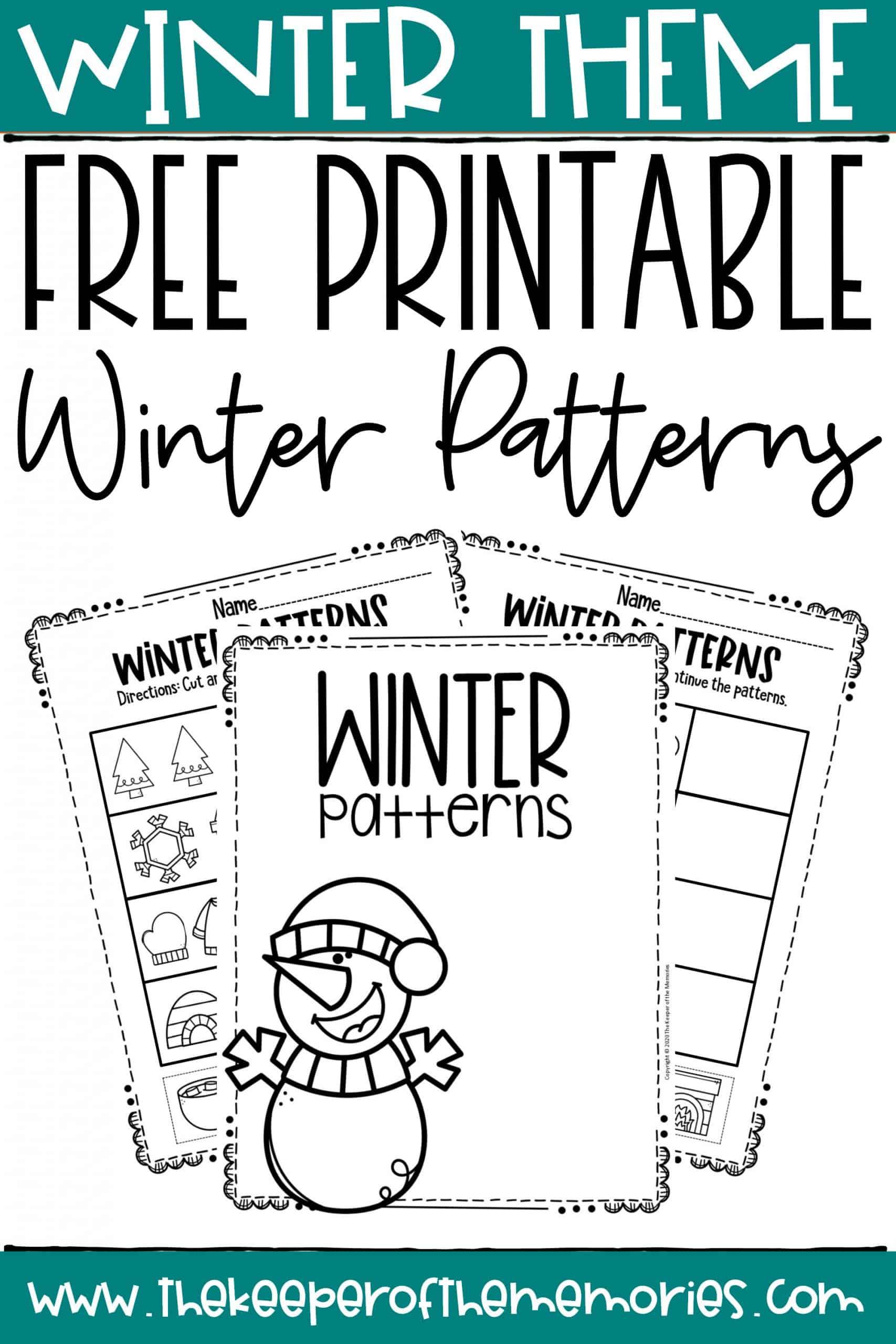 Free Printable Patterns Winter Preschool Worksheets