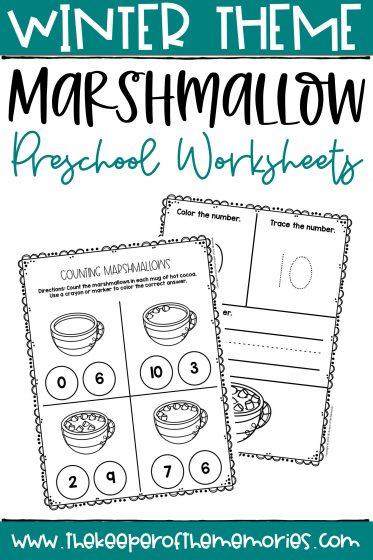 Counting Marshmallows Winter Preschool Worksheets with text: Winter Theme Marshmallow Preschool Worksheets