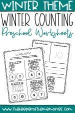 Mittens Printable Winter Preschool Worksheets