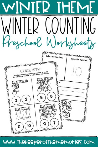 Mittens Printable Winter Preschool Worksheets with text: Winter Theme Winter Counting Preschool Worksheets