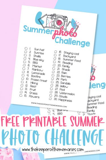 Summer Scrapbooking Ideas printables with text: Free Printable Summer Photo Challenge