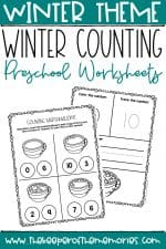 Counting Marshmallows Winter Preschool Worksheets