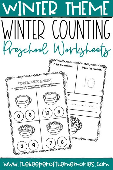 Counting Marshmallows Winter Preschool Worksheets with text: Winter Theme Winter Counting Preschool Worksheets