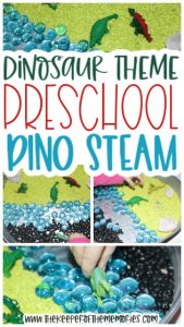 dinosaur habitat images with text: Dinosaur Theme Preschool Dino STEAM