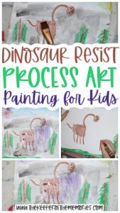 collage of dinosaur resist process art images with text: Dinosaur Resist Process Art Painting for Kids