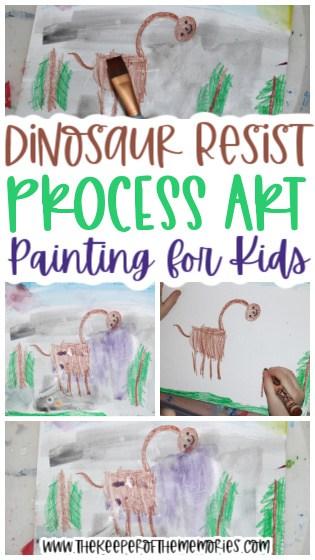 collage of dinosaur resist process art images with text: Dinosaur Resist Process Art Painting for Kids