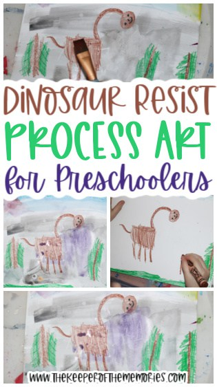 collage of dinosaur resist process art images with text: Dinosaur Resist Process Art for Preschoolers